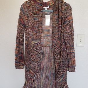 JPR Upscale rainbow fringe high low fall cardigan